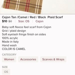 Cejon Accessories - CEJON made in Italy tan, black and red scarf.